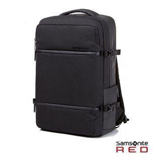 Samsonite RED【CARITANI DQ4】15.6吋筆電後背包 可插掛行李箱 減壓背帶設計 出差出遊(深灰色)