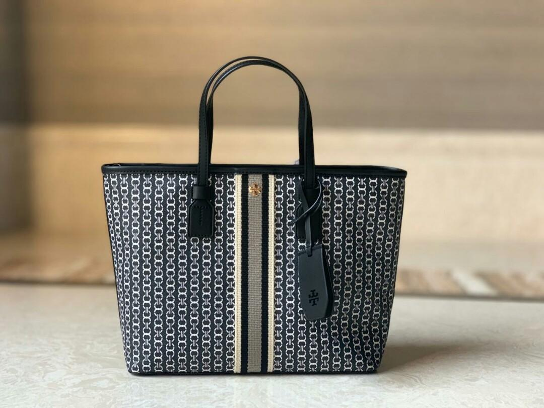 Tory burch tb gemini link canvas tote small ( with strap )  Color : black Size : 30cm x 24cm