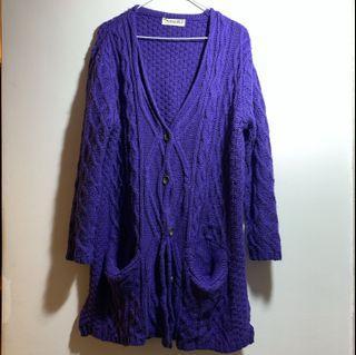 紫長版針織外套