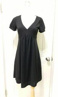 Bear two 專櫃 夏日洋裝 黑色洋裝 高腰長洋裝 短袖洋裝