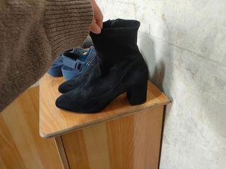 專櫃麂皮 絨布 高根 低根 短靴 側拉鍊