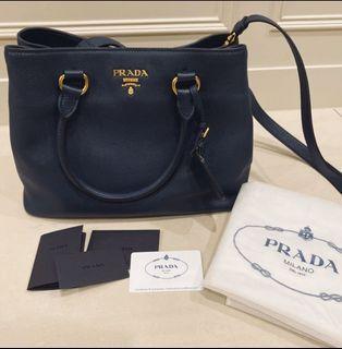 全新 Prada深藍色牛皮肩背手提兩用包