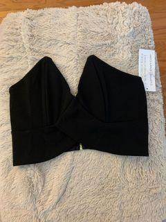 Black crop top strapless new with tags small