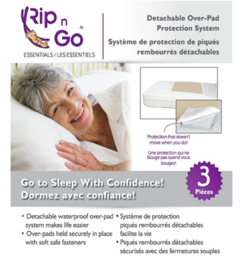 Brand New Rip n Go Essentials 3pc Washable Bed Pads