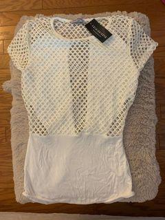 Fashion nova xs white mesh bodysuit