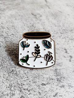 Plants in jar enamel pin