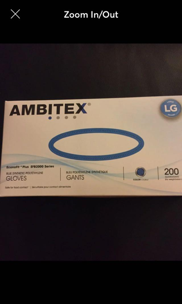 1 Box Of Blue Synthetic Polyethylene Gloves Size Large