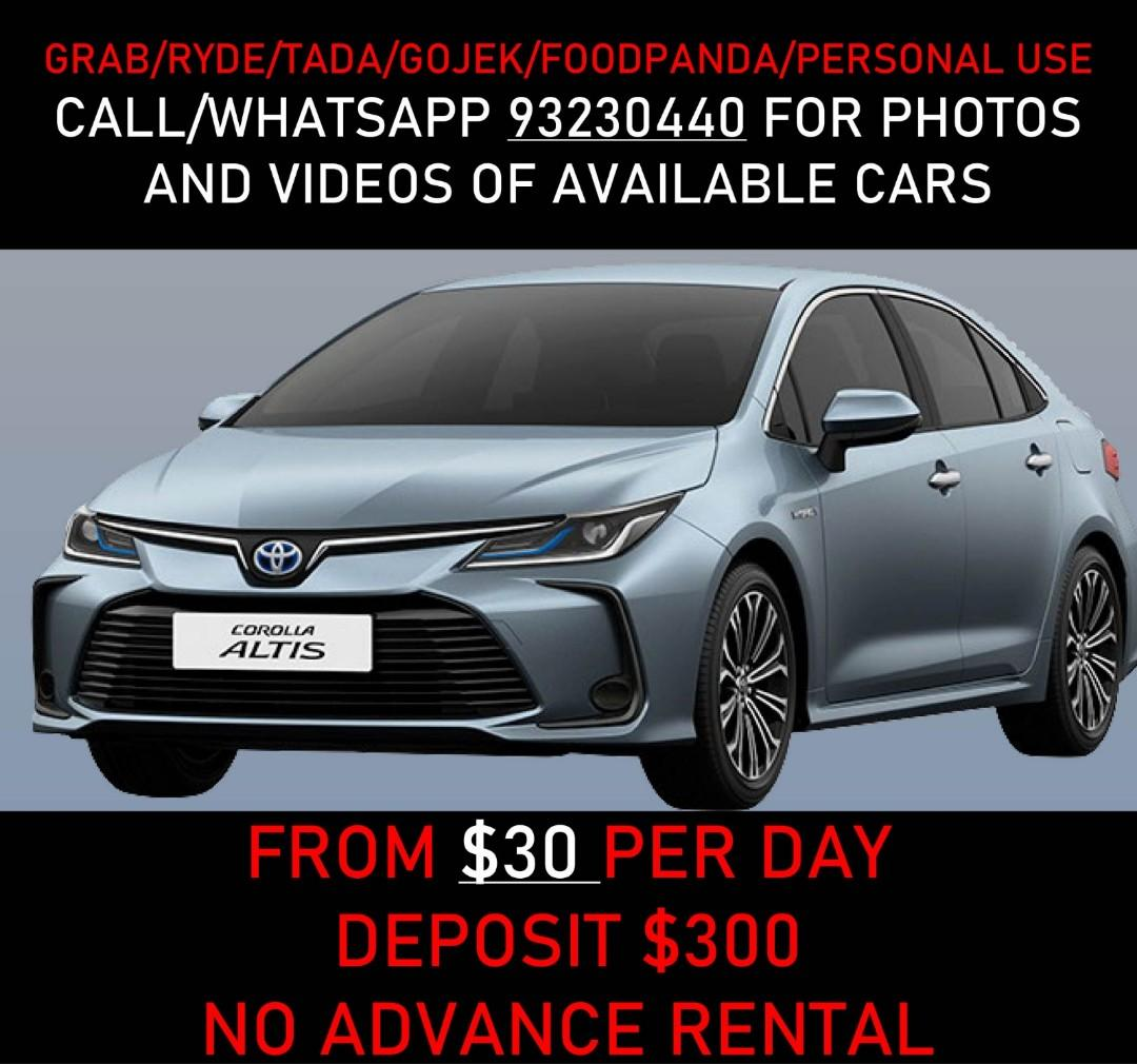 $25/DAY CHEAP CAR RENTAL FOR GRAB GOJEK ALTIS WISH VIOS SHUTTLE HYBRID PETROL DIESEL CARS AVAILABLE CALL 93230440