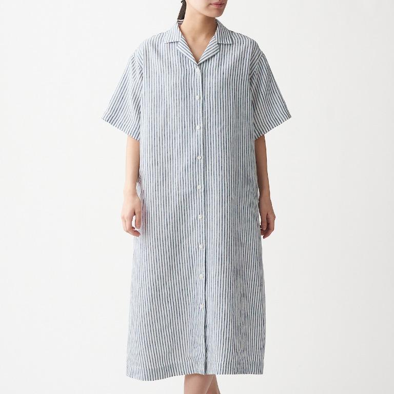 ㊣現貨快出㊣ MUJI無印良品 女法國亞麻水洗五分袖開襟洋裝 (柔白直紋)M-L