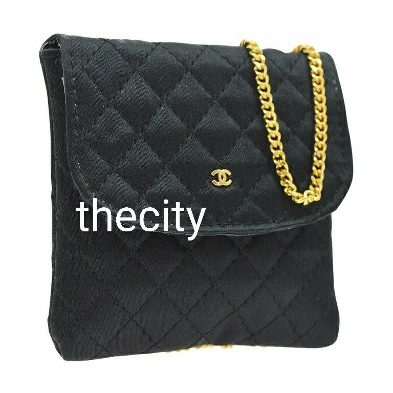 AUTHENTIC CHANEL MINI MICRO FLAP  POUCH BAG -  QUILTED BLACK NYLON CANVAS  - GOLD CHAIN STRAP NECKLACE - VINTAGE
