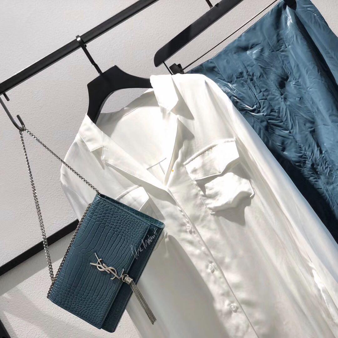 Authentic YSL Saint Laurent Medium Kate Tassel Bag Croc Embossed Emerald Blue