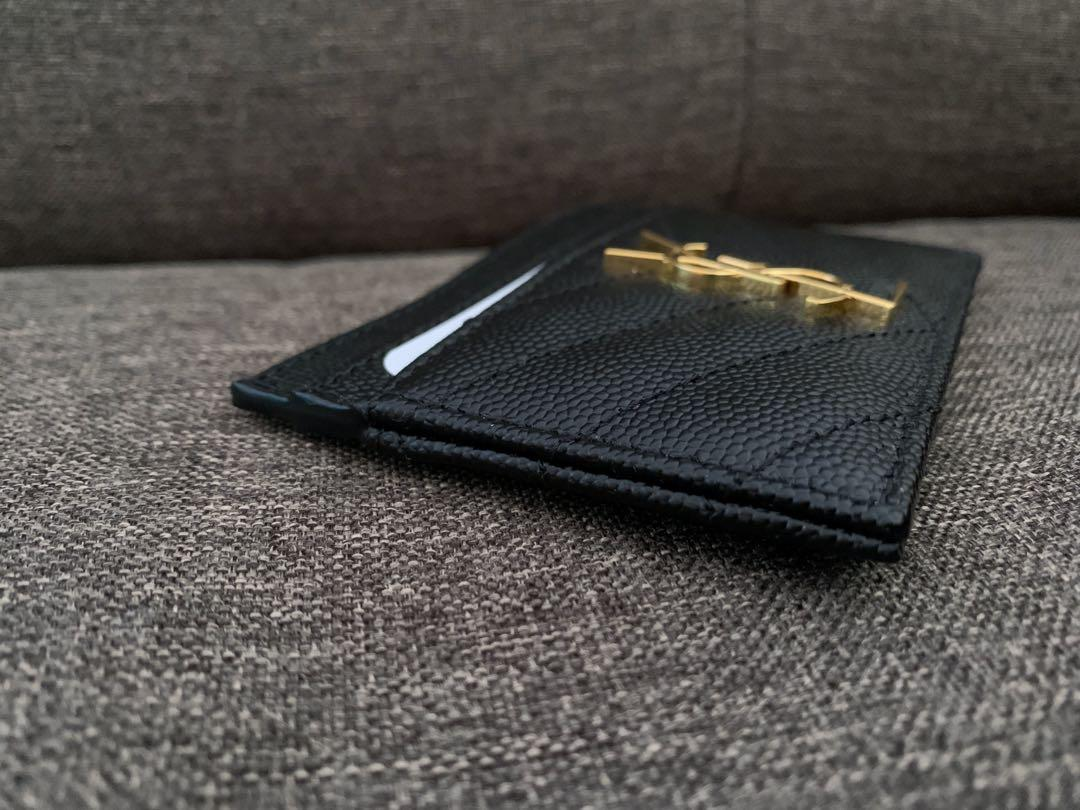 BRAND NEW AUTHENTIC SAINT LAURENT BLACK CARD HOLDER GHW