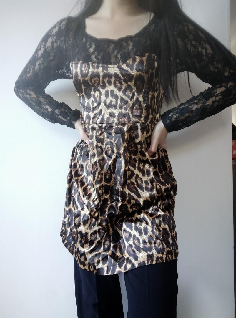 Cheetah print dress-top