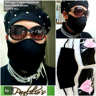 Buy1Take1 Facemask +TURBAN Covers ALL 3Layers N95 Type Unisex Face Mask Design#041 Gucci Black fits❤all washable waterproof with filter REVERSIBLE