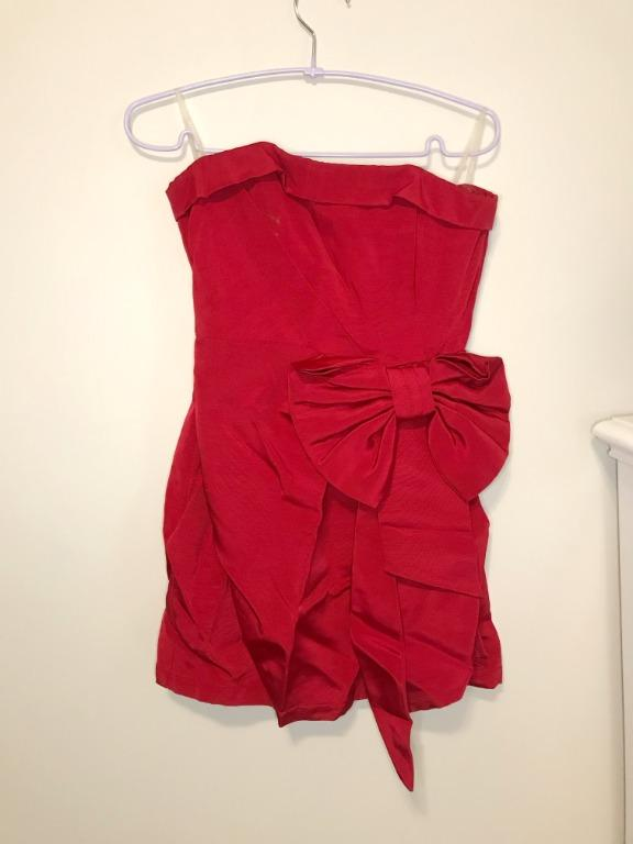 Forever 21 Ruby Red Dress with Bow Size Small UNWORN