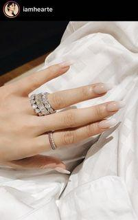 Full Heart Eternity Ring in Silver and Signity Stones sz 7 7.5 8