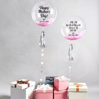 """18"""" Personalized Bubble LED Fairy Light Air or Helium Balloon"""