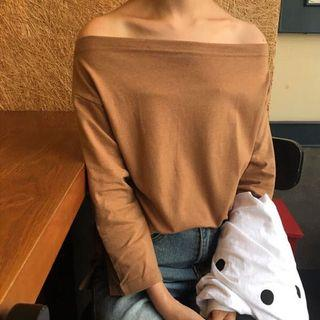 Yesstyle| Khaki Boatneck Off-shoulder Quarter/Long-sleeve Top Shirt