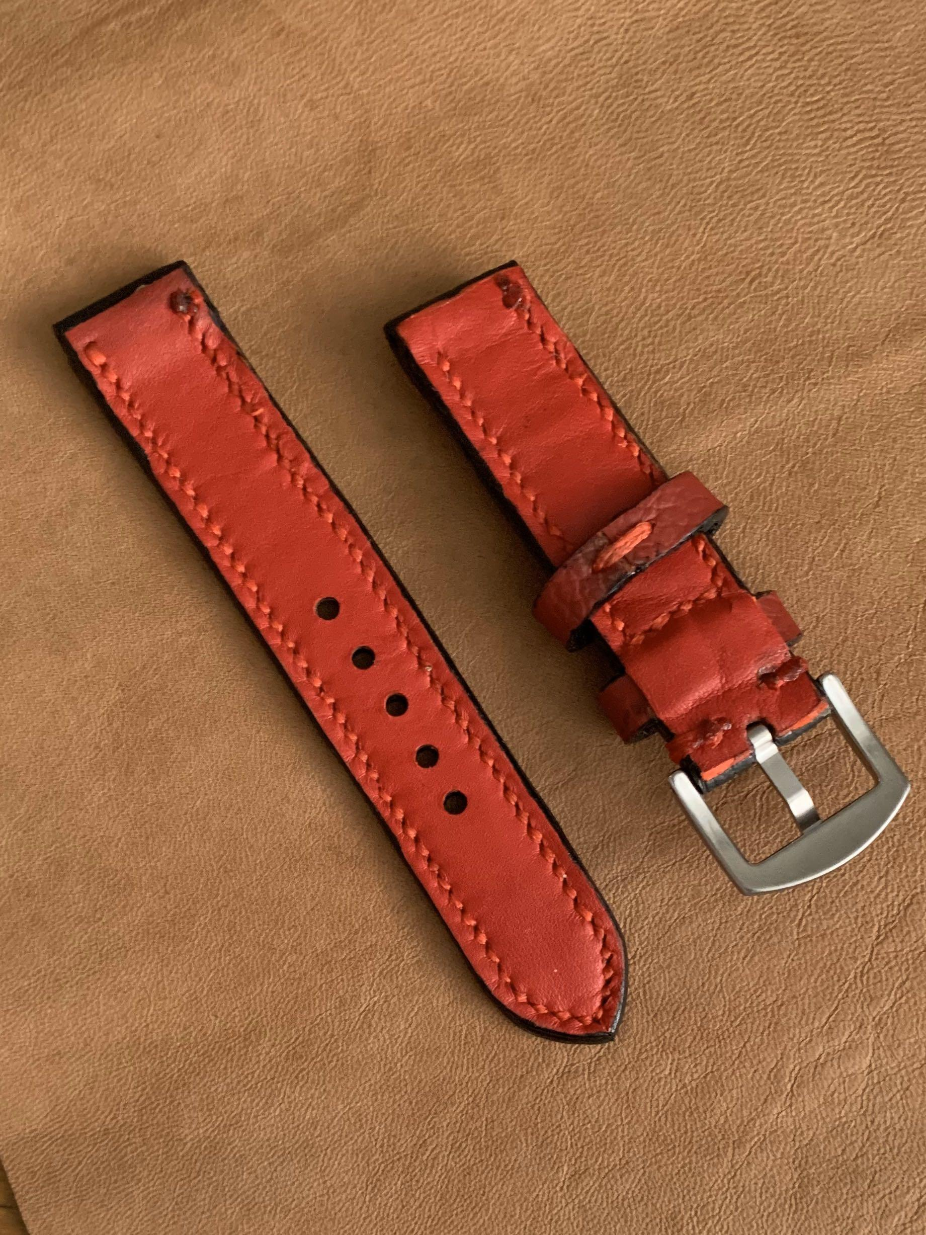 20mm/20mm Calf Leather Black Strap with Ferrari Red Stitching and Matching Comfortable Goatskin Lining Leather Watch Strap - 20mm@lug/20mm@buckle   (Length- L:120mm, S:75mm) (only 1 piece like that 😊- once sold, no more)-looks excellent on diver watches!