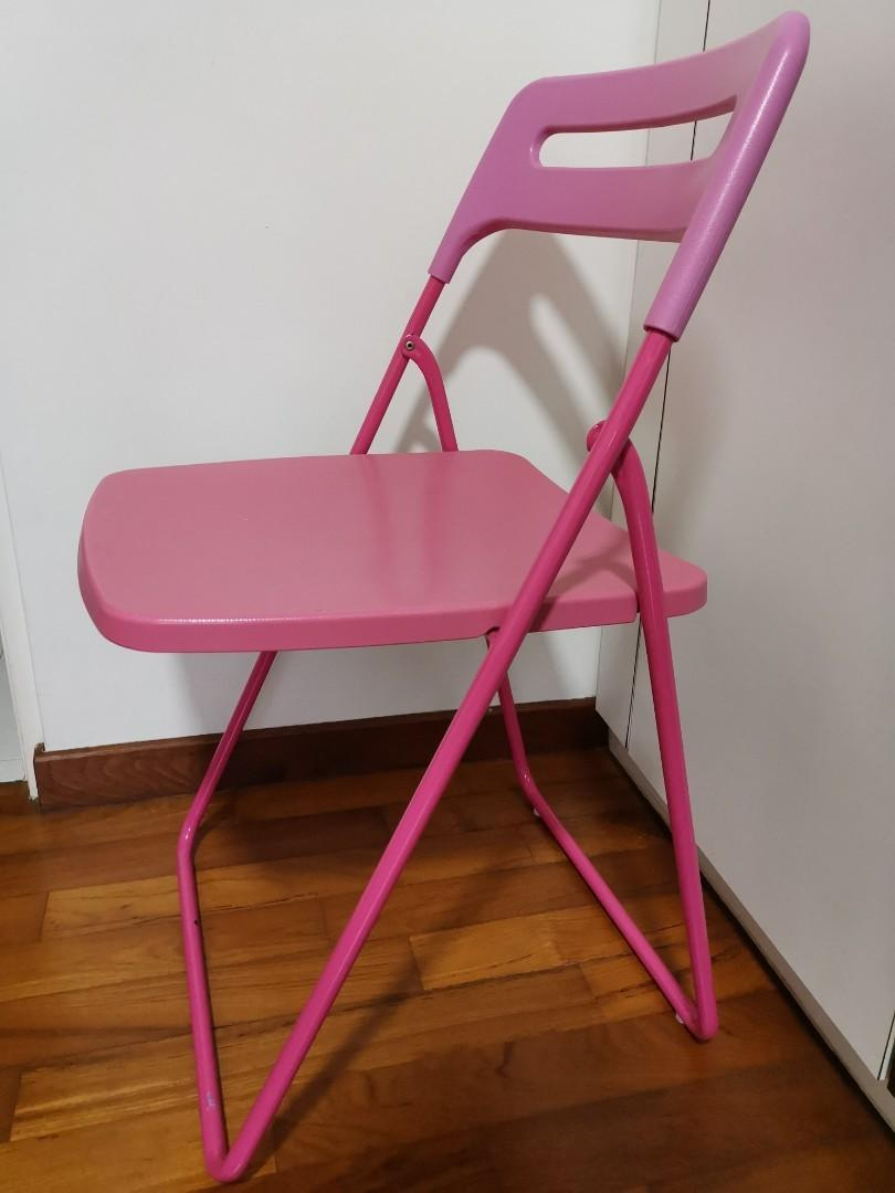 Pink Ikea Chair Nisse Foldable For Easy Storage Furniture Tables Chairs On Carousell