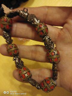 藏康 文物 硃砂石手雕三錢神獸手環