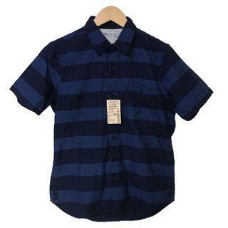 無印良品 MUJI 有機棉藍染 橫紋短袖襯衫