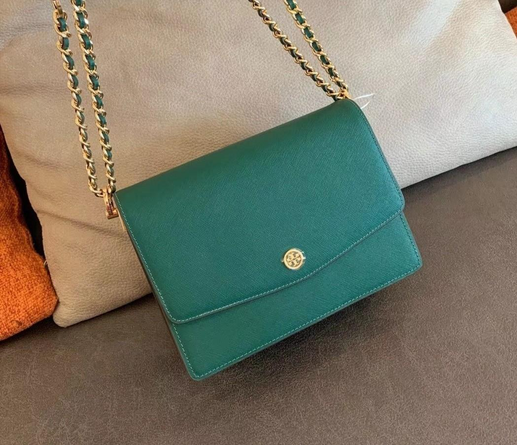 Authentic Tory Burch Robinson convertibles sling crossbody bag in green handbag