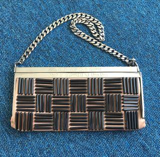 Chanel Metal Clutch, Satin and Beads Baguette