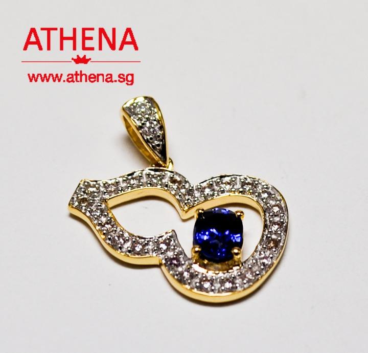 JW_SP_692 JEWELLERY 18K YG GOURD DESIGN BLUE SAPPHIRE PENDANT WITH DIAMOND D27-0.20CTS 2.07G [PRICE EXCLUDE CHAIN]