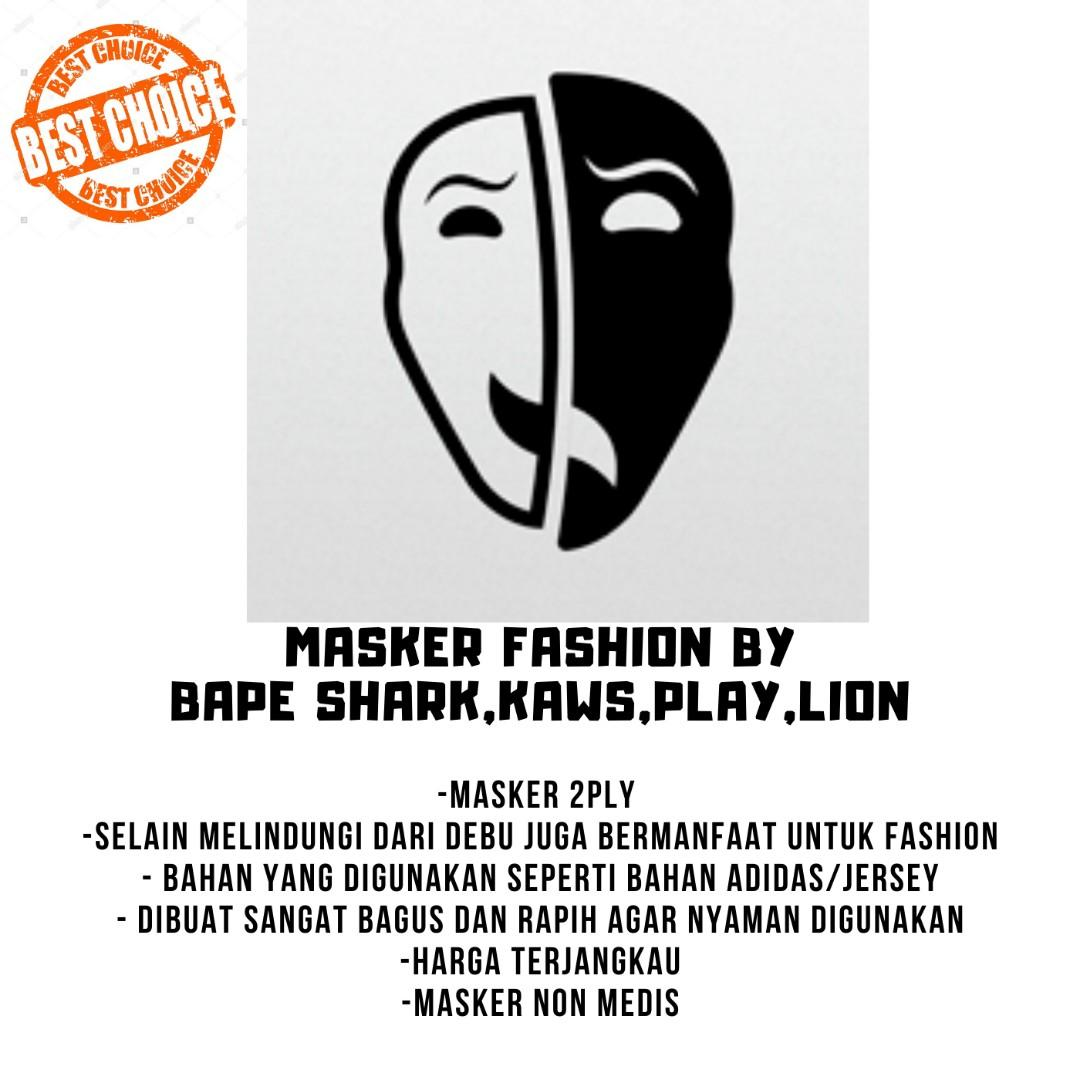 masker premium model scuba fashion by Bape shark,Kaws,Play dan Lion