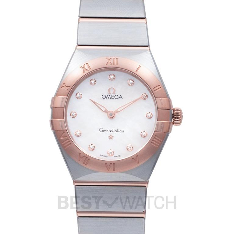 [NEW] Omega Constellation Manhattan Quartz 28 mm Quartz White Dial Diamonds Gold Ladies Watch 131.20.28.60.55.001