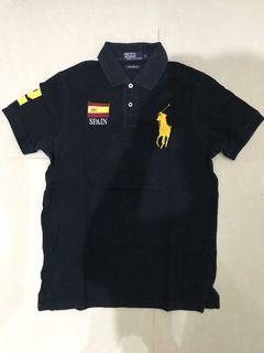 Polo Kaos Berkerah Spain 2 Hitam Asli Mulus Ukuran M