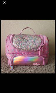 smiggle pink glittery lunch bag