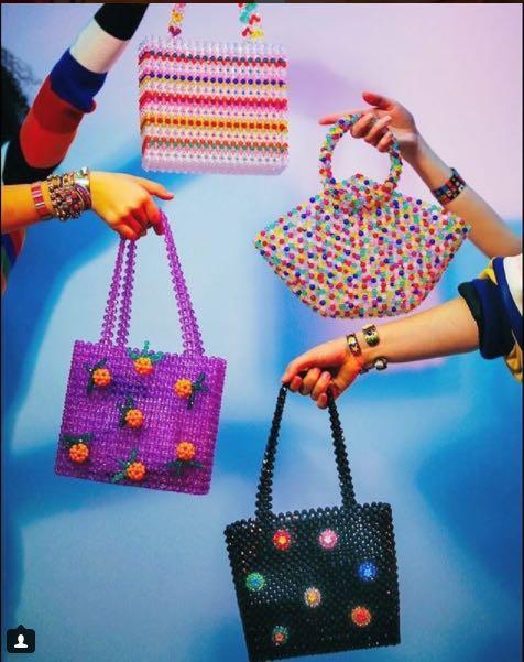 Susan Alexandra Handmade multi-colour beaded handbag