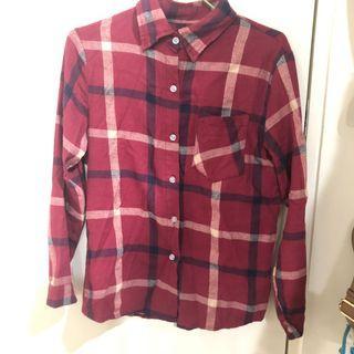 酒紅色 格子 格紋 長袖襯衫