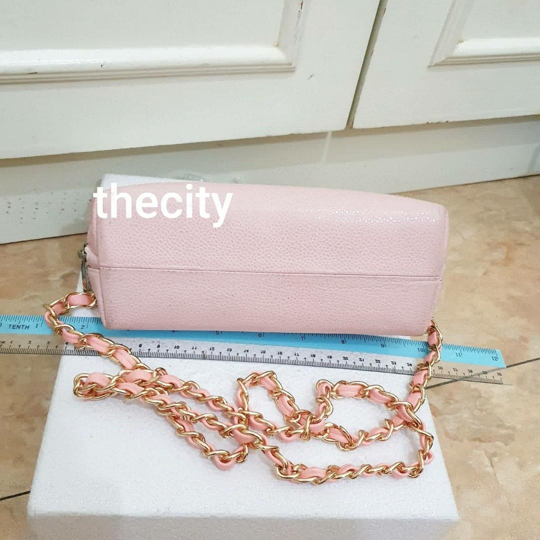 AUTHENTIC CHANEL PINK CAVIAR LEATHER VANITY POUCH BAG - CC LOGO DESIGN - COMES WITH EXTRA ADD HOOKS & LONG CHAIN STRAP FOR CROSSBODY SLING - HOLOGRAM STICKER INTACT SERIAL # 15269503 , - CLASSIC TIMELESS VINTAGE DESIGN -