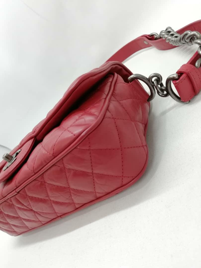 AUTHENTIC CHANEL RED QUILTED EASY FLAP BAG - HOLOGRAM STICKER INTACT,  WITH AUTH CARD - (CHANEL FLAP BAGS NOW COST AROUND RM 20,000+)