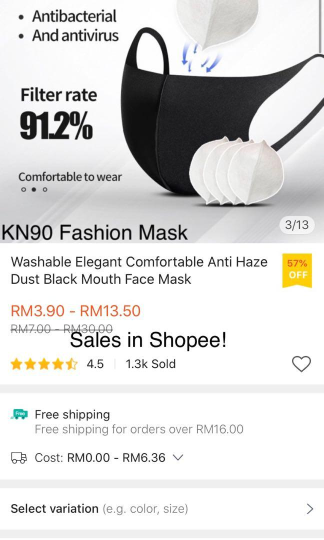 KN90 Washable Breathable Anti Haze Dust Black Face Mask