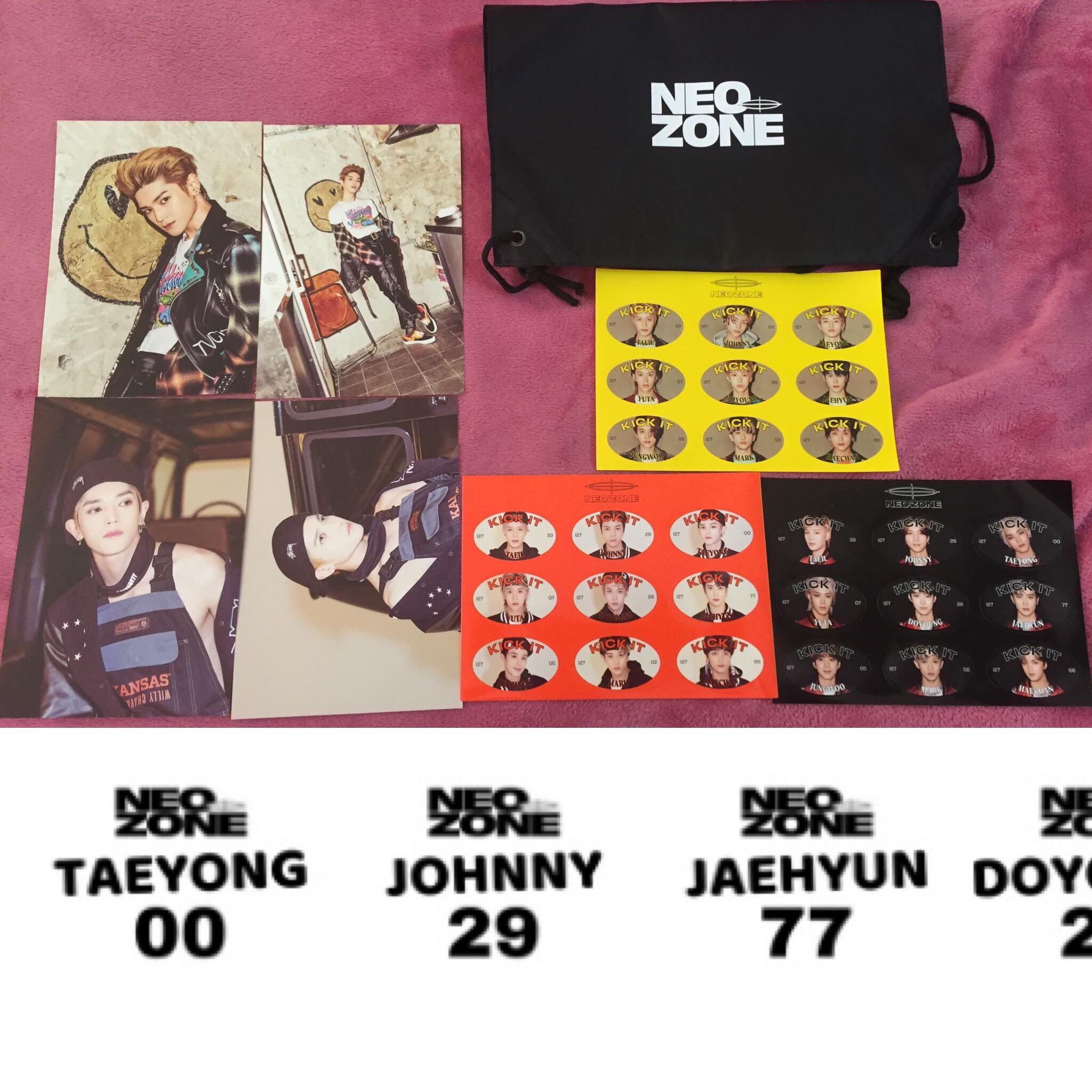 Member Set NCT 127 Neo Zone 4 Postcards + 3 Stickers + Bag