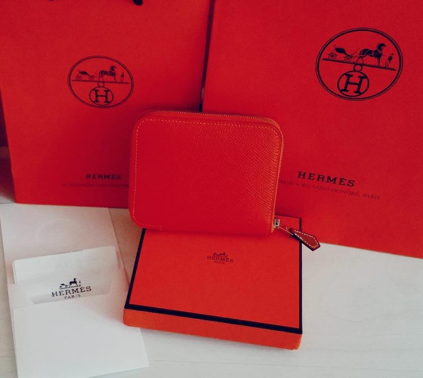 🍊RARE FRESH From store! Authentic Hermes orange 100% silk zip wallet coin card purse (Rare combi, outer and inner orange)