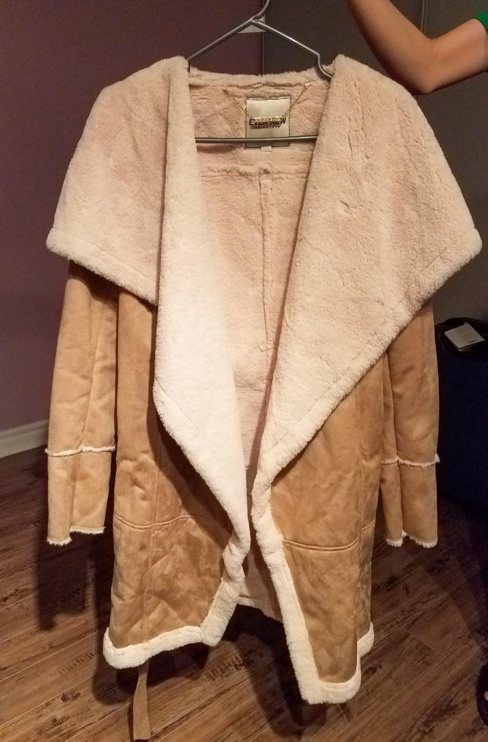 EVER NEW sharna waterfall shearling coat oversized