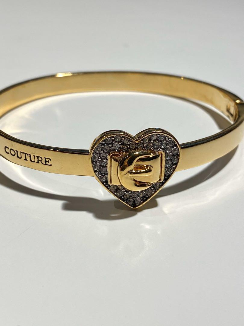 Juicy couture rhinestone heart belt hinged bracelet