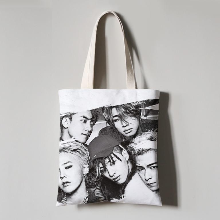 KPOP BIGBANG GD Kwon Ji-yong G-Dragon peaceminusone Tote Casual Bag Bigbang权志龙GD周边peaceminusone同款帆布袋字母印花学生购物袋
