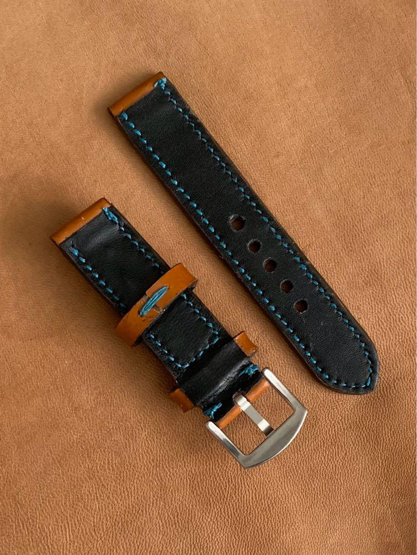 20mm/20mm Calf Leather Whiskey Brown Strap with Teal Blue Stitching and Comfortable Black Goatskin Lining Leather Watch Strap - 20mm@lug/20mm@buckle   (Length- L:120mm, S:75mm) (only 1 piece - once sold, no more👍🏻) -looks excellent on diver watches!