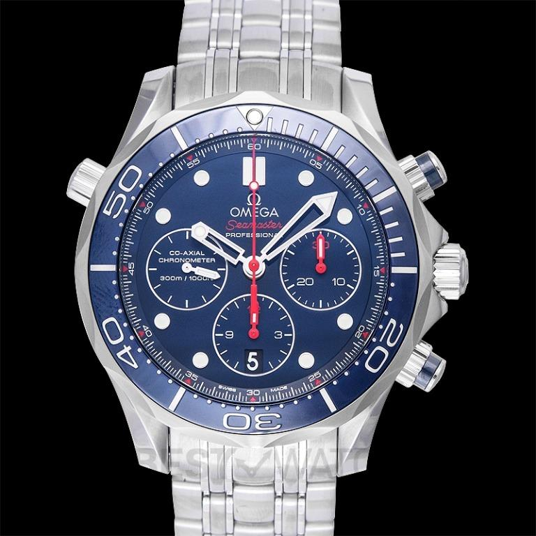 [NEW] Omega Seamaster Diver 300 M Co-Axial Chronograph 44mm Automatic Blue Dial Steel Men's Watch 212.30.44.50.03.001