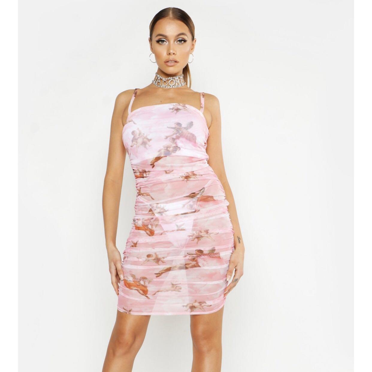 Pink mesh ranched dress