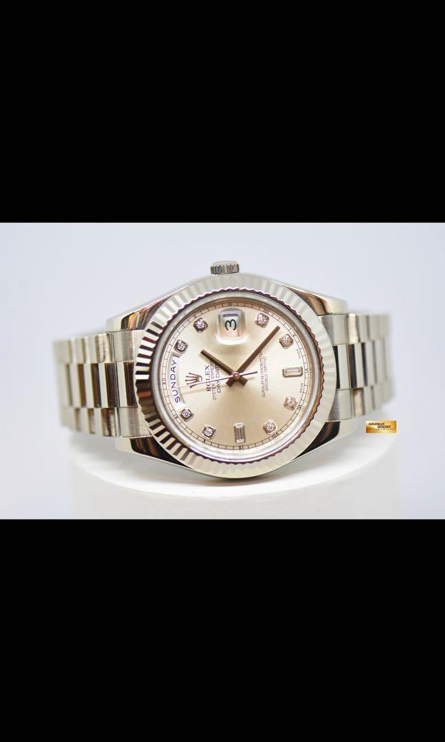 ROLEX OYSTER PERPETUAL DAY-DATE II 18K WHITE GOLD 41mm PRESIDENT BRACELET DIAMOND DIAL AUTOMATIC 218239 (LNIB)