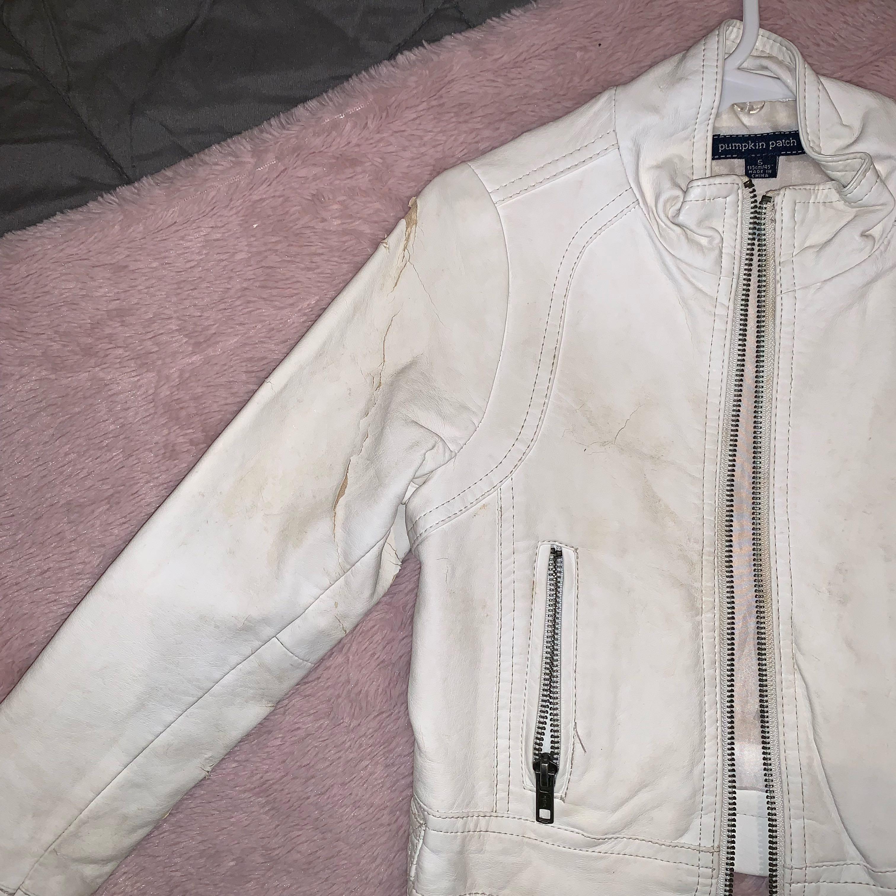 Size 5 white leather jacket