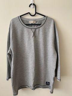 灰色落七分袖T