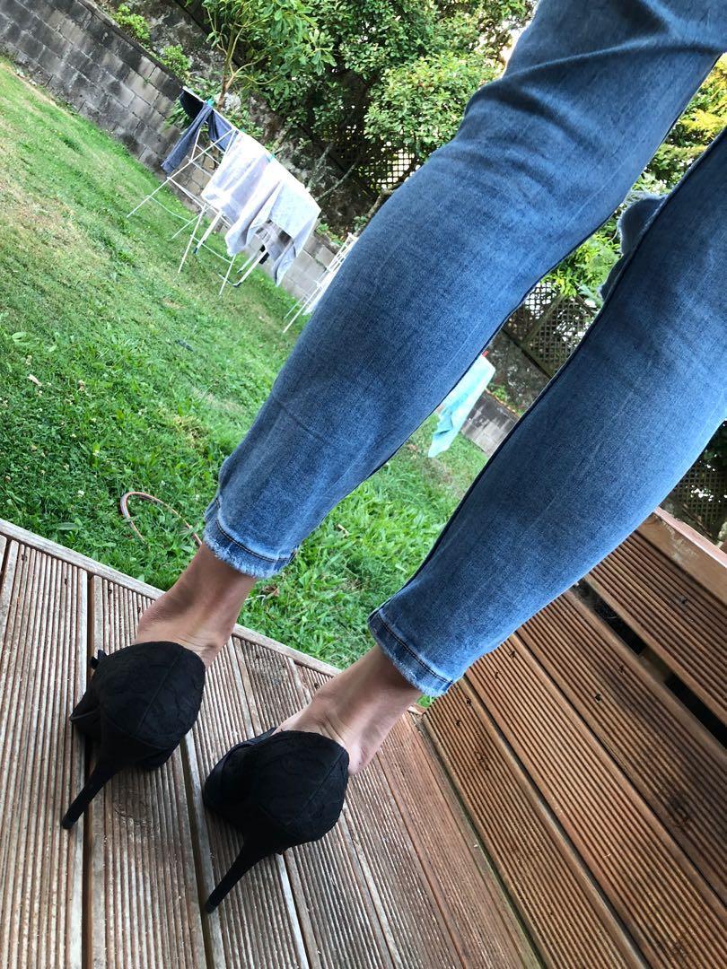 Black lace stilettos